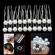 20PCS Ladies Wedding Bridal Prom White Pearl Hairpins Alloy Hair Pins Clip Grips