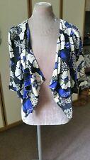 Oasis kimono jacket. Blue black white floral. Size XS Good condition