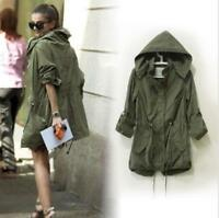 Womens Hoodie Drawstring Army Green Military Outwear Trench Parka Jacket Coat sz