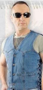 Jeans-Weste WJ-39921, Biker, Running Bear, Schnürung, 1a-Qualität, Gr. M, neu