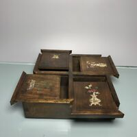 Noble Boxwood Inlay Conch flower Usable Precious big Jewelry Box treasure boxes