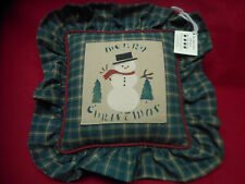 "New ""Merry Christmas"" Snowman Decorative Pillow ~ Country Barnyard 14""x14"" Plaid"
