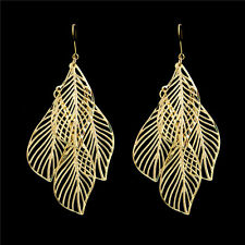 Luxury Gold & Silver Hollow Filigree Leaf Dangle Earring 0.99 Free Shipping