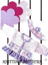 "Baby girl/toddler pretty frilled cardigan & hat KNITTING PATTERN 16""-24""  DK1014"