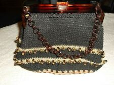 Vintage Celluloid Tortoise Crocheted Purse