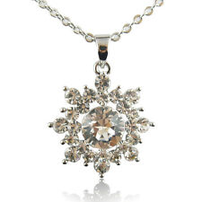 14k White Gold Plated Frozen Elsa Pendant Necklace With Swarovski Elements