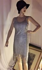 Flapper Dress Cloche Hat Set Costume Fringe Gatsby Gap 1920s Silver