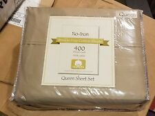 400 Ct Bed Bath & Beyond No-Iron Wrinkle Free 100% Cotton Queen Sheet Set Taupe