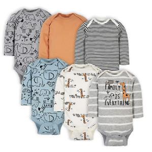 Gerber Baby Unisex 6 Pack Long-sleeve Newborn Onesies Bodysuit JUNGLE BLUE