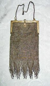 Antique French Cut Steel Beaded Bag Circa 1900-1910