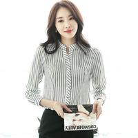 Women Black White Striped Chiffon Blouse V Neck Long Sleeve Button Shirt Tops