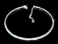 Diamante Choker Necklace 1 Row Rhinestone Silver Crystal Diamond Wedding Bridal