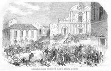 ITALIA GARIBALDI sulle truppe in Place de l'Eglise a Reggio-antica stampa 1860