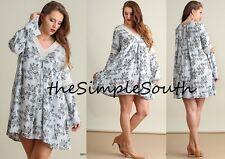 New UMGEE Sky Blue Floral Bell Sleeve Crochet Lace Tunic Top Mini Short Dress XL