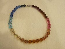 "SWAROVSKI CRYSTAL RAINBOW NECKLACE, 16"", 10mm BEADS, .925 SILVER CLASP"