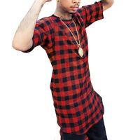 Hip Hop Men Long Extended Swag Tops For Tyga Zipper Men Hipster Plaid Tops Tees