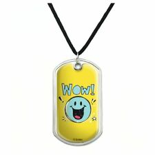 Wow Smiley Face Officially Licensed Military Dog Tag Pendant Necklace with Cord