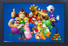SUPER MARIO GROUP VIDEO GAME 13x19 FRAMED GELCOAT POSTER DONKEY KONG NINTENDO!!!