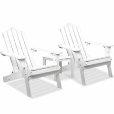 3pcs Set Adirondack Chair & Side Table Outdoor Furniture Garden Beach Deck White
