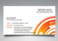 OFFICE 2016 PROFESSIONAL PLUS (365 ACCOUNT) KEY CARD - LIFETIME - 5 PC / MAC