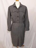 Vintage 40's Trevira Wool Blend House Dress - Size M - Grey Check