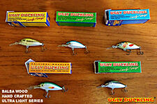 5 ultra light lures Ugly Duckling Balsa Wood Fishing Lures rare and unique baits