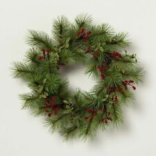 New Hearth & Hand Magnolia Wreath Red Berry Pine Needle
