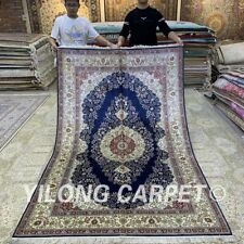 Yilong 5'x8' Handknotted Silk Carpet Living Room Oriental Floral Area Rug H324B