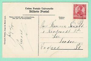 PORTUGAL AZORES PPC 'Furnas Baths' 20r D.Manuel July 1910 Ponta Delgada > London