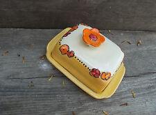 "Butterdose butter dish  Butterglocke Keramik mit Blume im Dekor ""Blomster"""