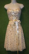 BCBG Maxazria Ivory Mesh Sequin Sweetheart Social Wedding Dress 8 $498