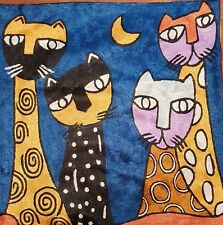 """Silk Cushion Cover from Kashmir Abstract Four Cat at Night Design 18"""" x 18""""."""