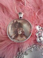 Horse Pendant Necklace Victorian Lady Art Deco Style Cabochon Silver Tone