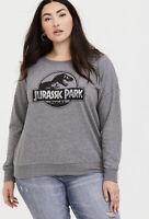 Womens Torrid JURASSIC PARK HEATHERED GREY PULLOVER SWEATSHIRT size 0 12 large