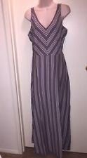 "LC LAUREN CONRAD Women's Chevron Striped Maxi Dress""SHARK""Grey/White Size S NWT"