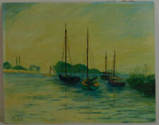"""Vintage Oil Painting on Board Seascape with Boats Unframed Art (16"""" x 20"""")"""