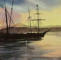 Old Sailing Ship at Sunset. Large Seascape.  Original Signed Watercolour Art