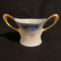 Antique Favorite Bavaria Open Sugar Bowl Forget-Me-Nots Gold Trim Signed 1915