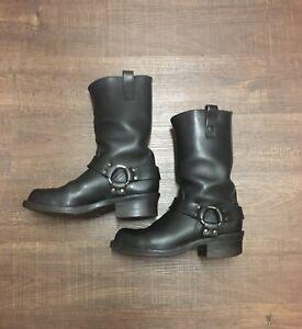 "Vintage Wesco Harness Boots 9 E Mens Black Leather Motorcycle Biker 11"" Boss USA"