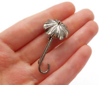 925 Sterling Silver - Vintage Petite Etched Umbrella Motif Brooch Pin - BP4672