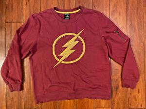 DC Comics The Flash Bolt Logo Sleeve Zip Pocket Crewneck Sweatshirt Size Mens L