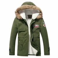 Winter Warm Men Thick Fur Collar Hooded Fleece Lined Outerwear Jacket Coat Park
