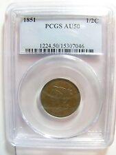 1851 Half Cent PCGS AU 50 Cert# 15307046