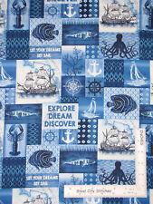Nautical Ship Fish Anchor Collage Cotton Fabric Studio E Indigo Coastal By Yard