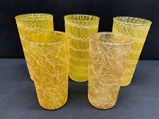 "Set of 5 (2 Sizes) ~ Yellow Color Croft Tumblers ~ (2) 5 1/2"" ~ (3) 6 1/4"" Tall"