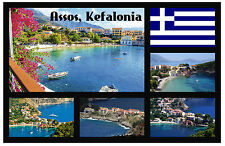 ASSOS, KEFALONIA - SOUVENIR NOVELTY FRIDGE MAGNET - FLAGS / SIGHTS - GIFTS
