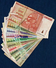 Zimbabwe Dollars Set ~ 11 Bank Notes DAMAGED 100 Million Billion + *Pre Trillion