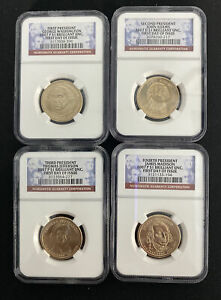 2007 P NGC $1 FIRST DAY OF ISSUE PRESIDENTIAL COIN BRILLIANT UNC  4 SET