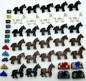 Lego Horses Black White Or Brown Lots Of 4 One Mixed Lot of 7 Castle Pirate