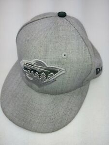 New Era 59fifty Minnesota Wild Hockey Cap Gray Tone on Tone Fitted Hat 7 1/4